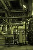 Power plant. Different Types Of Pipes Inside Energy Plant Royalty Free Stock Images