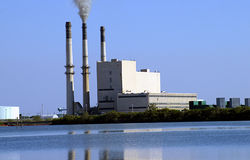 Power Plant. By the water Royalty Free Stock Photo