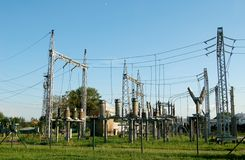 Power plant. With green grass and clear sky Stock Images