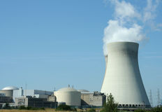 Power plant. Nuclear power plant with cooling tower Royalty Free Stock Images