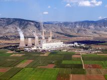 Power plant aerial. Aerial view of a fossil fuel power plant stock images