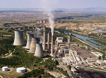 Power plant aerial. Fossil fuel power plant aerial view stock photos