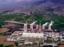 Power plant, aerial. Fossil fuel power plant, aerial view stock photos