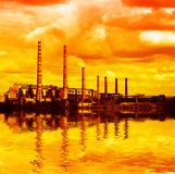 Power plant - air pollution stock image