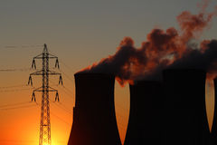 Free Power Plant And High Voltage Tower During Sunset Royalty Free Stock Images - 21750649