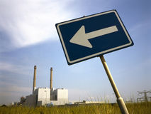 Power plant with arrow sign Stock Photography