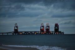 Power plant barge station stock photo