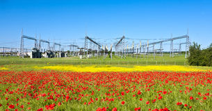 Power plant in beautiful flower Royalty Free Stock Photography