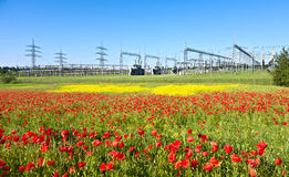 Power plant in beautiful flower Stock Photos