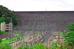 Power plant from behind the dam and environment Stock Photography