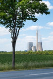 Power plant behind a tree Royalty Free Stock Photo