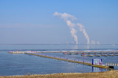 Power plant Boxberg and lake Stock Images