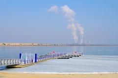 Power plant Boxberg and lake Stock Photography