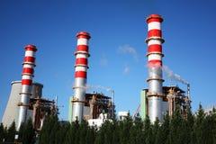 Power plant chimneys Stock Photography