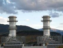 Power plant chimneys royalty free stock photo