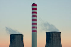 Power plant chimneys Royalty Free Stock Image