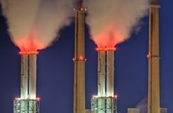 Power plant chimneys Royalty Free Stock Images