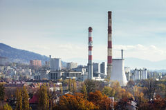Power plant CHP in Bielsko-Biala in Poland. Autumn view from Sulkowski castle Royalty Free Stock Photography