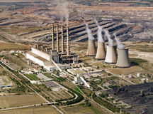 Power plant & coal mine, aerial Stock Photos