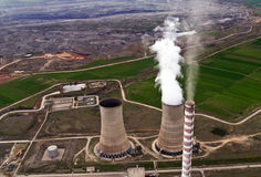 Power plant & coal mine, aerial royalty free stock photography