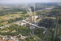 Power plant in coal mine Stock Image