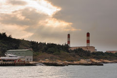 Power plant at the coast in kinmen, taiwan Royalty Free Stock Images
