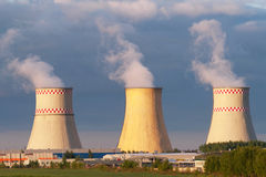 Power plant cooling towers Stock Photos