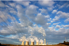 Power plant cooling towers Royalty Free Stock Image