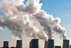 Power plant cooling towers across V1 Stock Photos