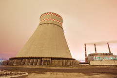Power plant and cooling towers at dusk Royalty Free Stock Image