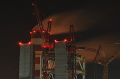 Power plant. Crane at a construction site. Chimney Royalty Free Stock Photography