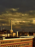 Power plant and dark sky stock images