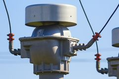 Power plant detail, high voltage isolation. Power substation detail, high voltage ceramic isolation stock photography