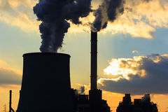 Power plant detail sunset Royalty Free Stock Photos