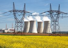 Power plant Dukovany with golden rapeseed field Stock Photography