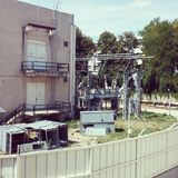 Power plant. Of electric dam with transformers Royalty Free Stock Image