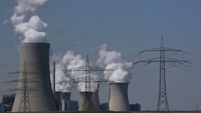 Power plant with electric towers Stock Photo