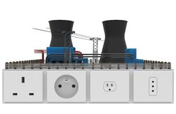 Power plant with electrical sockets Stock Photo