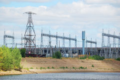 Power plant with electrical towers Royalty Free Stock Photos