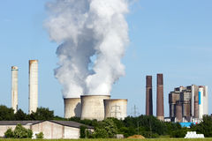 Brown coal Power plant emission Stock Photography