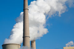 Power plant emissions Stock Photo