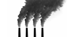 Power Plant emissions. On white background royalty free stock photos