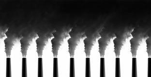 Power Plant emissions. On white background stock photo