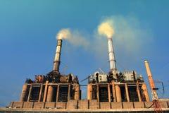 Power plant emissions stock image