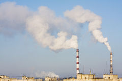 Power plant emissions Stock Images