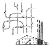 Power  plant. Factory. Pipelines. Royalty Free Stock Photos