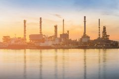 Power plant factory river front sunset tone. Industrial background royalty free stock image