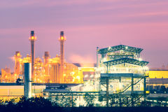Power plant. And factory at twilight time Royalty Free Stock Images