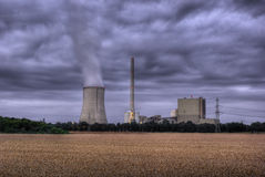 Power plant and grainfield Stock Photo