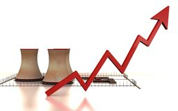 Power plant graph. A graph rising on a thermal power plant showing rise in demand, power or global warming Stock Image
